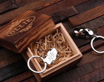 Personalized Monogrammed Car Key Chain Men, Boyfriend, Birthday Father's Day Gift Idea with Wood Gift Box