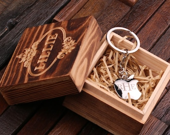 Personalized Monogrammed Apple Key Chain Men, Boyfriend, Birthday Father's Day Gift Idea with Wood Gift Box