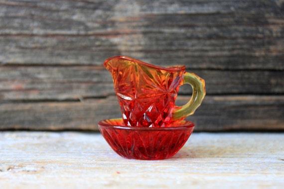 pitcher amberina lead crystal bowl miniature