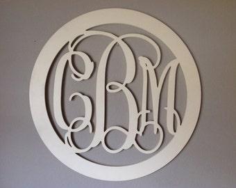 "24"" Wooden Monogram - Painted  Wooden Letters, Wedding Nursery letters, Wall Hanging, Vine Monogram with Border, Nursery decor"