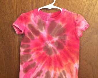 Pink and brown Toddler top tie dye XXS