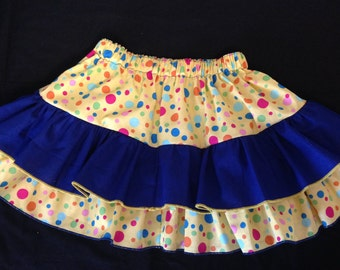 SALE!!!   Blue and yellow polka dot ruffle  skirt size 4-8 -- Ready to ship