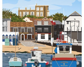 BROADSTAIRS. Art print poster of Old Broadstairs from Harbour, Kent. A4, A3, A2. A Kent seaside town.