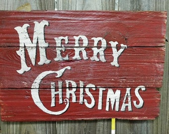 Wood Sign - Christmas Sign - Vintage Merry Christmas sign on reclaimed wood -  Handmade Sign