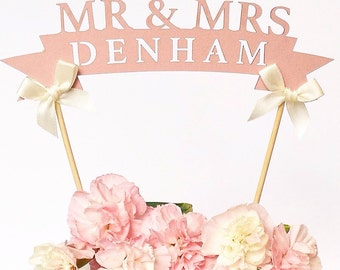 Rustic Pink Paper Wedding Cake Toppers