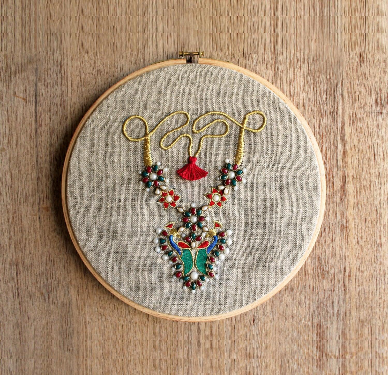 Linen Jewellery: Hoop Art Indian Jewellery Machine Embroidery Linen With