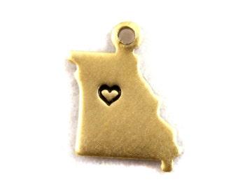 2x Brass Missouri State Charms w/ Hearts - M073/H-MO