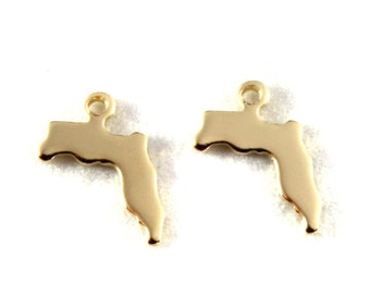 2x Gold Plated Blank Florida State Charms - M115-FL