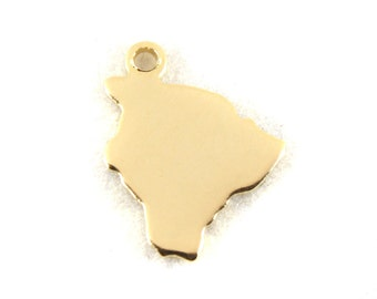 2x Gold Plated Blank Hawaii State Charms - M115-HI