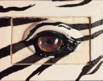 Zebra eye, Africa themed keepsake, wooden box
