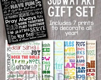 Set of Printable Subway Art - Subway Art Prints Set - Instant Download Home Decor - Seasonal Subway Art - Printable Home Decor - Digital