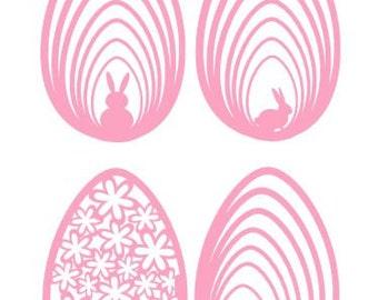 SVG Decorative Easter Eggs set of 4 DIGITAL download