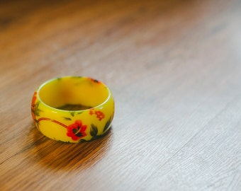 Vintage Yellow Tropical Flower Cuff Bracelet