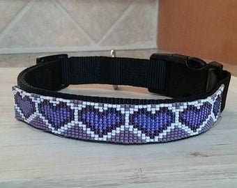 Heart of Three Shades, Beaded Dog Collar - Personalization Now Available