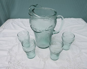 Vintage, clear green glass,dimpled,textured,Coke,Coca-Cola pitcher and four small glasses,juice,water,60's,70's,Retro,Breakfast,mid century