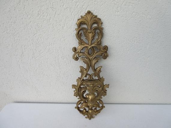 Vintage ornate Syroco gold taper 17 candle holder