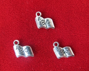"10pc ""book"" charms in antique silver style (BC521)"