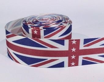 "5 yards of 1 inch ""British flag"" grosgrain ribbon"