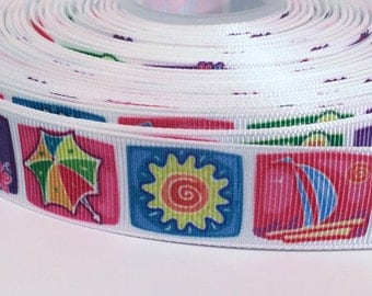 "5 yards of 7/8 inch ""Summertime"" grosgrain ribbon"