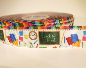 "5 yards of 7/8 inch ""Back to school"" grosgrain ribbon"