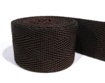 3 yards of 1 inch / 25mm brown webbing, strap (WB8)