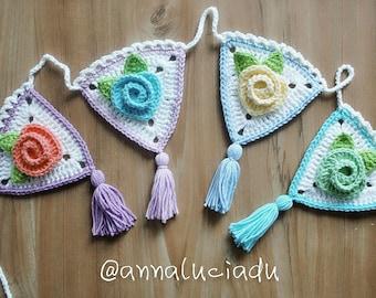 Crochet rose garland Pattern, crochet rose, crochet, bunting, flower bunting,  crochet flowers, Instant Download
