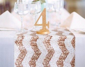 Chevron Sequin Table Runner READY TO SHIP. Sparkly Wedding Tablecloth for Reception, Bridal Shower, Sparkly Winter Wedding Ceremony Decor