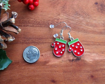 356 Dangle Earrings, Mitten Earrings, Christmas Earrings, Holiday Earrings, Red Earrings, Womens Accessories