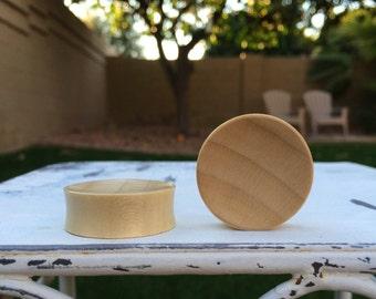 "Concave Blonde Crocodile Wood Plugs 8g 00g 1/2"" (12mm)"
