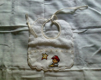 Cross stitch embroidered bibs