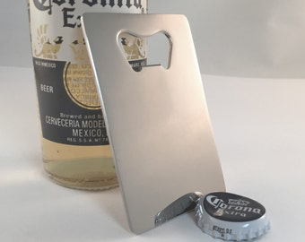 Bottle Opener, Stainless Steel Credit Card Sized Personalized Beer Bottle Opener with Free Engraving, Wedding Favor, Groomsmen Gift