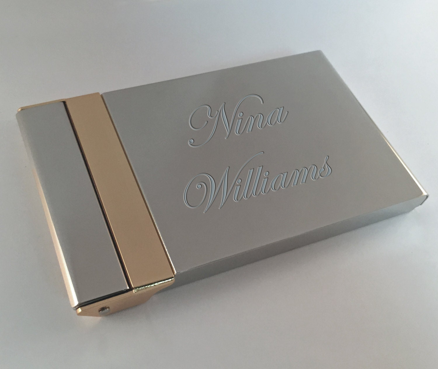 Business Card Holder Gold & Silver with Free Engraving