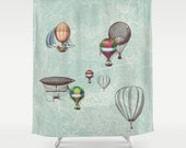 "Hot Air Balloons Fabric Shower Curtain - ""Balloon Festival"" - Travel Decor, maps, Bathroom - teal, balloons, inspiration, vintage dirigibles"