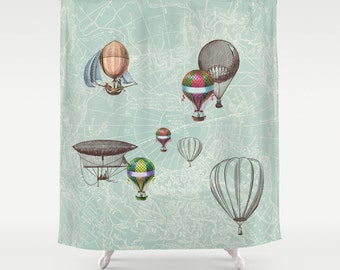 "Hot Air Balloons Fabric Shower Curtain - ""Balloon Festival"" - Travel Decor, maps, Bathroom - teal, balloons, inspiration, vintage dirigibles"
