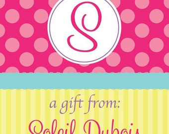 Pink Polka Dot and Yellow Stripe Initial Gift Tag