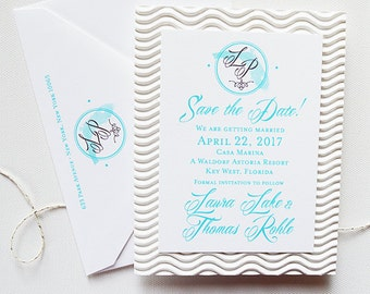 Beach Wedding Save the Dates | Beach Theme Save the Date | State Monogram