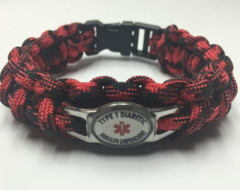 Type 1 Diabetic Insulin Dependent  Medical Alert Bracelet - charm as shown