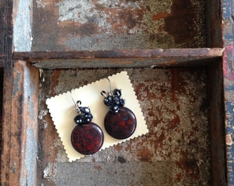 Large Grey and Deep Red Agate Circle Stone Earrings by K'nique Jewelry