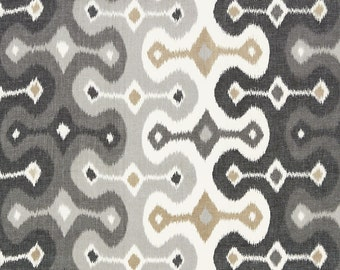 One or Both Sides - ONE Schumacher Darya Ikat Stone Pillow Cover with Self Cording