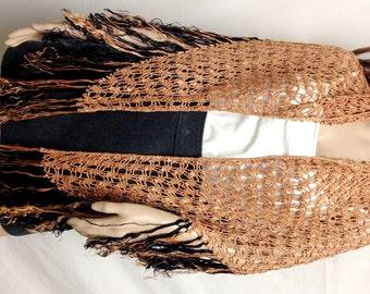 Knit shawl,Knit Wrap ,Shawl ,tan Black,fringed