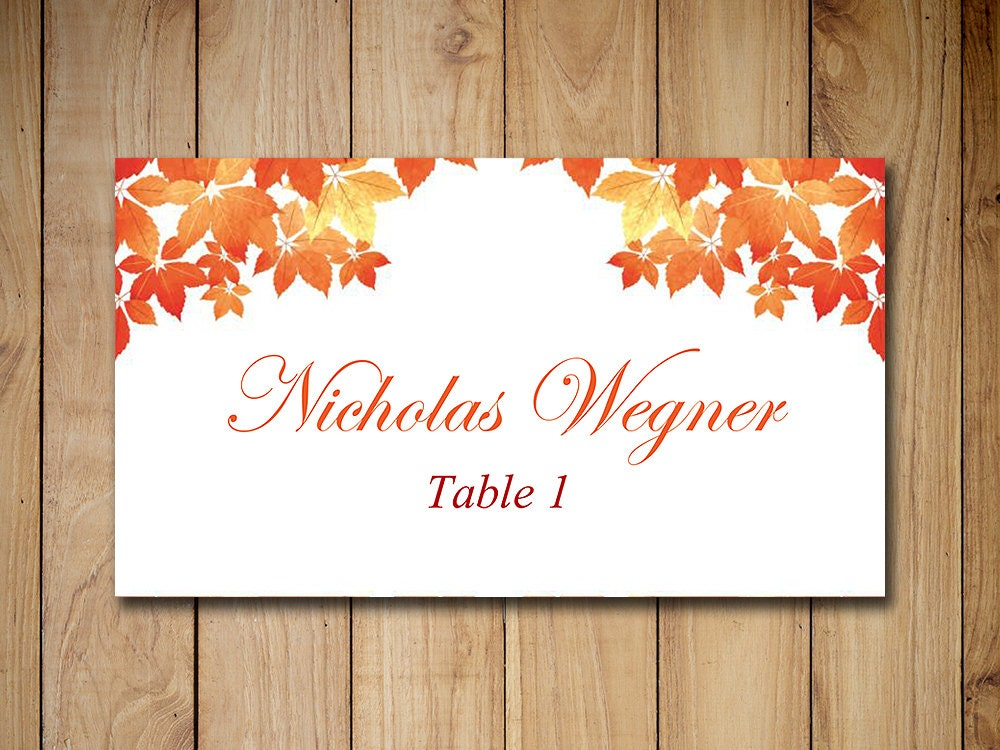Fall wedding place cards template escort card fall for Templates for place cards for weddings