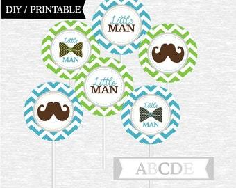 Instant Download Cupcake Toppers, Little Man, Bow Tie, Mustache Baby Shower DIY Printable (OTHER)