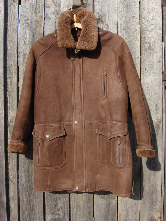 Vintage 1980 Men's sheepskin coat jacket ELAZAR Leather