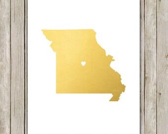 8x10 Missouri State Print, Geography Wall Art Print, Metallic Gold Art, Missouri Poster, Office Art, Home Decor, Instant Digital Download