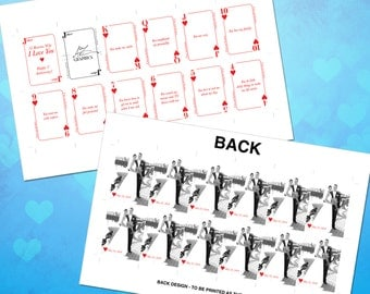 """Print Your Own """"I love you because..."""" Custom Playing Card Deck Template"""