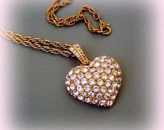 "MONET Rhinestone Heart Pendant - Gold Tone Setting - Beautiful 18"" Chain"