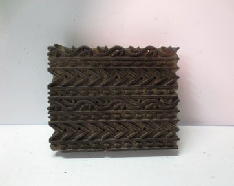 Vintage Indian wooden hand carved textile printing on fabric block / stamp unique carving design pattern for clay pottery