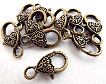 10 Bronze Clasps, Giant Clasps, Antique Bronze, Metal Clasps, Large Lobster, Jewelry Supplies, Bronze Findings, Heart Clasps, UK Seller