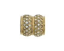 Magnetic Clasp in Gold or Silver with Swarovski Crystals, 14x12mm, Inner Diameter 6.5mm