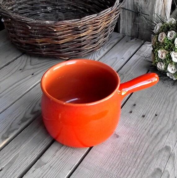 Caquelon en terre cuite orange brillant par myfrenchbricabrac for Cuisine terre cuite